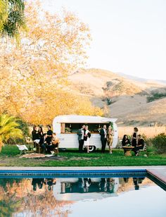 Mid Century poolside cocktail party. Wedding inspiration. Vintage Trailer. Shasta Trailer by Tinker Tin Trailer Co. tinkertin.com