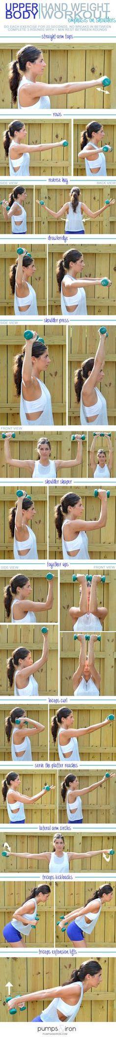Entrenamiento con pesas para los brazos (con énfasis en los hombros)   -    Upper-Body Hand Weight Workout (emphasis on shoulders)