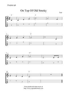 "✓""On Top Of Old Smoky"" Ukulele Sheet Music - Free Printable"