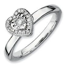 0.124ct Romantic Silver Stackable Heart Diamond Band. Sizes 5-10 Available Jewelry Pot. $106.99. All Genuine Diamonds, Gemstones, Materials, and Precious Metals. 30 Day Money Back Guarantee. Your item will be shipped the same or next weekday!. Fabulous Promotions and Discounts!. 100% Satisfaction Guarantee. Questions? Call 866-923-4446. Save 62%!