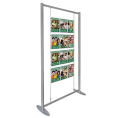 2m tall double-sided display with clear acrylic poster holders take posters, detail cards, menus or advertisements. Holders suspended on wires [cables] inside an aluminium frame with a choice of base sizes.