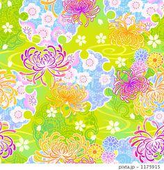 和柄パターン菊のイラスト素材 by madara