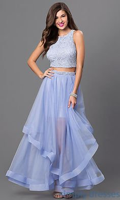 Shop two-piece City Triangles long formal gowns at Simply Dresses. Long blue prom dresses with lace crop tops and tiered long skirts.