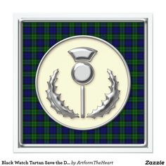 Black Watch Tartan Save the Date with Thistle