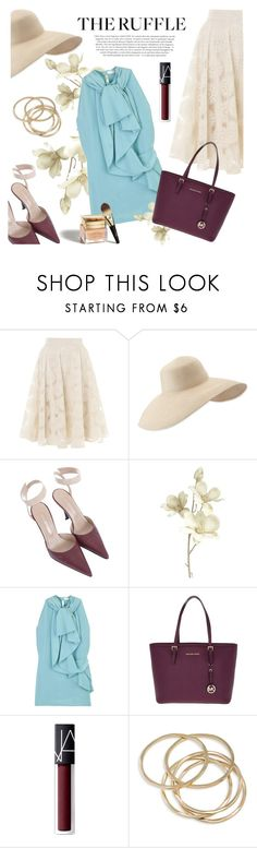 """""""Add Some Flair: Ruffled Tops"""" by colierollers ❤ liked on Polyvore featuring Somerset by Alice Temperley, Eric Javits, Sergio Rossi, Pier 1 Imports, Valentino, MICHAEL Michael Kors, Barneys New York, Chloé, NARS Cosmetics and ABS by Allen Schwartz"""