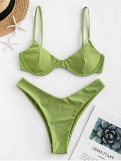 ZAFUL reversibile a coste con ferretto Bikini Swimsuit - Verde Cipolla S Push Up Bikini, Bikini Sets, Wired Bikini, Mode Du Bikini, Haut Bikini, Bandeau Bikini, Bikini Swimsuit, Summer Bikinis, Cute Bikinis