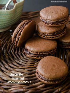 Chocolate Hazelnut Macarons are chocolatey, decadent, and naturally gluten free! from @FlavortheMoment