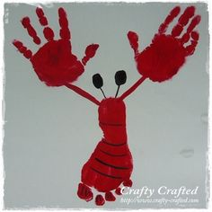 Preschool Crafts for Kids*: Handprint and Footprint Lobster Craft - I am obsessed with handprint crafts Kids Crafts, Summer Crafts, Cute Crafts, Crafts To Do, Projects For Kids, Craft Projects, Arts And Crafts, Craft Ideas, Beach Crafts