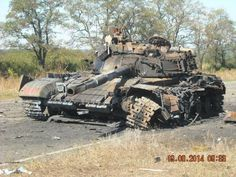 Knocked out Pro-Russian Separatist forces T-64BV.