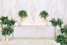 All white pelamine with fresh eucalyptus leaves. Wedding Stage, Dream Wedding, Wedding White, Wedding Things, Indoor Wedding, Garden Wedding, Diy Backdrop, Backdrops, Eucalyptus Leaves