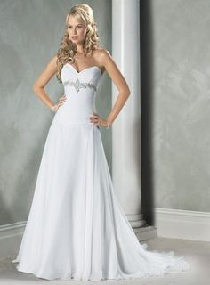 Sweetheart Neckline Beaded A-line/princess Chiffon Wedding Dress