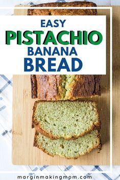 This easy pistachio banana bread has loads of flavor, is simple to make and is a fun alternative to the standard banana bread recipe. Plus, it's just so pretty! Vegan Banana Bread, Easy Banana Bread, Chocolate Chip Banana Bread, Banana Bread Recipes, Blueberry Bread, Zucchini Bread, Muffin Recipes, Pistachio Bread, Pistachio Dessert