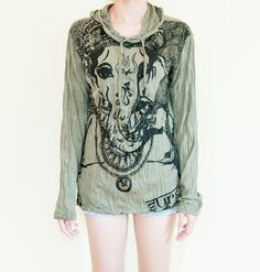 Size M Hoodie Unisex Crinkle Style Light-weight Cotton Hindu Ganesh Om (Green). $19.00, via Etsy.