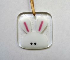 Easter bunny rabbit fused glass light catcher decoration, Easter gift for her, handmade stained glass art, home decor, Easter twig tree