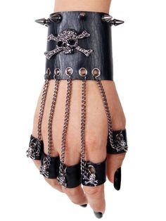 Goth punk cuff with finger chains - Kristin