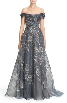 Marchesa Embellished Off the Shoulder Silk Organza Gown available at #Nordstrom