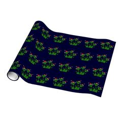 Happy Frogs Christmas Wrapping Paper #frogs #Christmas #wrappingpaper #funny And www.zazzle.com/tickleyourfunnybone*