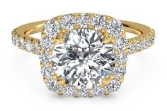 French-Set Halo Diamond Band Engagement Ring - in 18kt Yellow Gold (0.45 CTW)