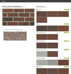 Click the gray Visit button to see the matching paint names. Ralph Lauren Paint, Brick Masonry, Ppg Paint, Valspar Paint, Paint Matching, Brick Colors, Brick And Stone, Behr, Benjamin Moore
