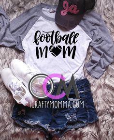 Football Mom Raglan, Football Mama Shirt, Ladies Football Shirt, Football Momma Shirt- Raglan - One Crafty Momma Momma Shirts, Football Mom Shirts, Game Day Shirts, Raglan Shirts, Shirt Ideas, Diy Clothes, Graphic Sweatshirt, Crafty, Lady