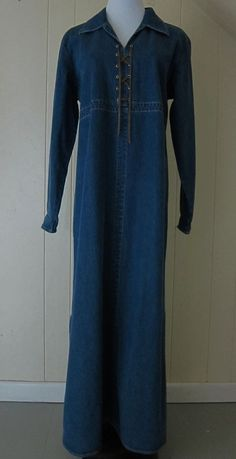 Denim & Co Women's Size M Long Denim Jean Dress Long Sleeve Lace Up Front #DenimCo #Maxi