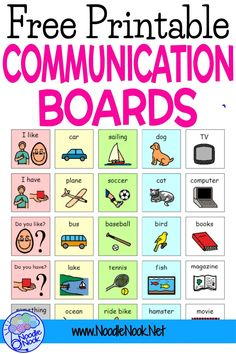 Free printable communication board for children and adult students with autism- includes pictures. Great ideas on where to find non verbal communication boards and ideas on how to make your own. Even examples from Boardmaker! Communication Pictures, Pecs Communication, Communication Activities, Autism Activities, Speech Therapy Activities, Autism Education, Preschool Special Education, Autism Classroom, School Psychology