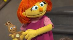 """60 Minutes visits """"Sesame Street"""" for the first time and films the debut of their new Muppet character, Julia, who has autism"""