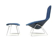 Chair and footstool designed by Harry Bertoia for Knoll, USA, 1952 | Fearsandkahn | DesignAddict