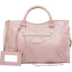 Balenciaga Classic Silver Pearly City Pink ($1,795) ❤ liked on Polyvore
