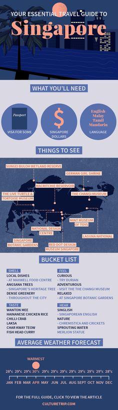 Your Essential Travel Guide to Singapore (Infographic) | Island, weekend break, Asia, bucket list, wanderlust, adventure, challenge, coffee, bar, food, must try, Summer, Beach