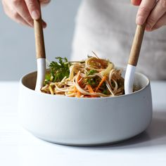 Spicy Soba Noodle Salad with Thai-Style Peanut Dressing | This is Sarah Simmons's completely inauthentic take on Chinese peanut noodles. Made with soba noodles and Thai pantry staples (red curry paste, coconut milk, chile and cilantro), it's lighter, brighter and spicier than the original.
