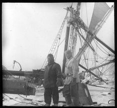 Frank Wild and Ernest Shackleton with the crushed Endurance