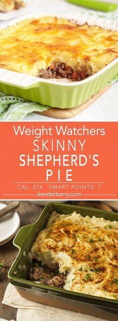Skinny Shepherd's Pie GL / Skinny Shepherd's Pie Dinner Recipe with ground turkey, potatoes, sour cream, margarine, Weight Watcher Dinners, Plats Weight Watchers, Weight Watchers Diet, Skinny Recipes, Ww Recipes, Dinner Recipes, Healthy Recipes, Cooker Recipes, Ground Chicken Recipes