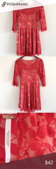 """Free People Red Lace 3/4 Sleeve Party Dress A sweet & flirty dress perfect for spring & summer  Features a white slip lining, full skirt, and side zip closure.  Stats (laying flat): Length: approx. 34"""" 