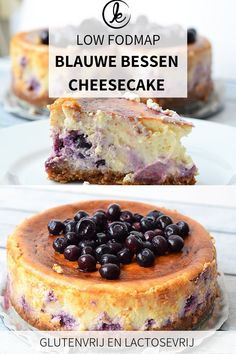 Low FODMAP blueberry cheesecake (gluten-free and lactose-free) Delicious low FODMAP blueberry cheesecake! This gluten-free and lactose-free blueberry cheesecake with lemon is perfect for sunny days. Lactose Free Cream, Lactose Free Diet, Fodmap Dessert Recipe, Fodmap Recipes, Lactose Free Cheesecake, Cheesecake Recipes, Lemon Blueberry Cheesecake, Cookie Recipes, Dessert Recipes
