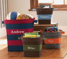 We borrowed the bold colors and wide stripes of an athlete's shirt to create this sturdy storage solution. It's made with strong handles so it's easy to tote clothes, toys, linens and more. Kids Clothes Storage, Kids Storage, Storage Ideas, Creative Storage, Tote Storage, Storage Baskets, Dinosaur Nursery, Linens And More, Nursery Storage