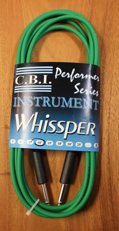 """C.B.I. Whissper Classic Double Heat Shrink 10' 1/4"""" 22 Gauge Instrument Cable Green"""