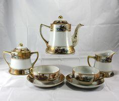 Vintage Nippon Hand Painted Gilded Tea Pot Set Cup Saucer Creamer Sugar Bowl 9Pc