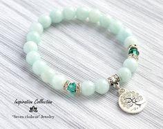 Gemstone Amazonite Charm bracelet Yoga bracelet Gift for her Yoga Jewelry Mala beads Tibetan Bracelet for her Hamsa bracelet Om bracelet by SevenChakrasShop on Etsy https://www.etsy.com/listing/399032507/gemstone-amazonite-charm-bracelet-yoga