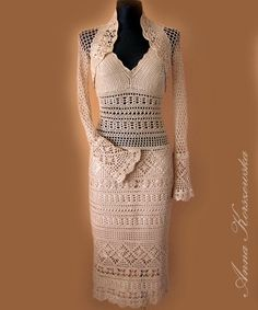 Crochet Dress and Bolero MADE TO ORDER Lace by AnnaKorszewska, $790.00