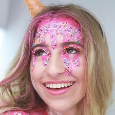 style is making our hearts melt! Halloween Looks, Happy Halloween, National Icecream Day, Paul Mitchell, Heart Melting, Carnival, Makeup, Face, How To Make