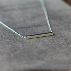 "16"" chain length :)  Silver Line Necklace Sterling Silver Bar Silver by ShopClementine"