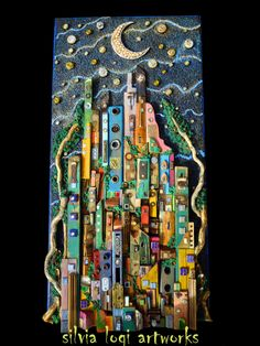 "made by recovered woods and mixed media mosaic size 113 x 58 x 7 cm - title ""In the hug between Earth and Sky"" Found Object Art, 3d Wall Art, Assemblage Art, Pebble Art, Mosaic Art, Rock Art, Altered Art, Art Boards, Painted Rocks"