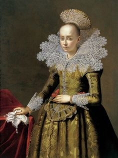 Portrait of a girl with a pearl headdress by Central-European School,c. 1625-35