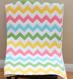 Chevron Quilt in Spring Pink Green Blue/Aqua Yellow Chevron and Sweet Ice Cream Print. $160.00, via Etsy.