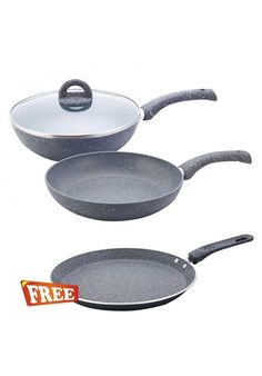 Make beauty your kitchen with Wonderchef Granite Cookware Set 3-Pieces Free Dosa Tawa 26cm shop online from Fashionothon.com non stick cookware Set, Saucepan sets , fashionothon  Shop online - http://www.fashionothon.com/home-and-kitchen/Wonderchef-Granite-Cookware-Set-3-Pieces