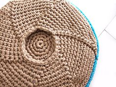 #crochet pouf free pattern ... opens up to use as storage, too! Despite the name of the blog, this is a crochet pattern.