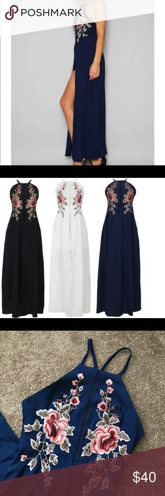 🌼🌼Navy Dress with Floral Appliqué Very unique dress. Beautiful floral appliqué on the front. Dress opens down the leg to reveal a mini skirt. Navy blue. Dresses Maxi