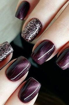 Purple and glitter nail ideas