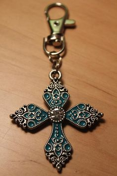 Anitqued Silver & Turquoise Cross Keychain / by skullcandydesigns, $10.00